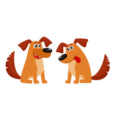 Two sitting dog characters talking and listening vector