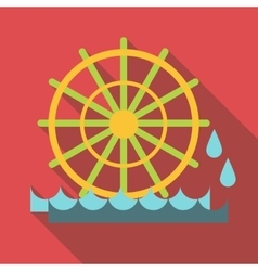 Water mill icon flat style vector