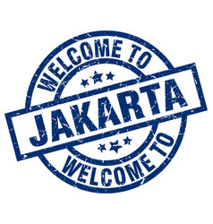 welcome to jakarta blue stamp vector image