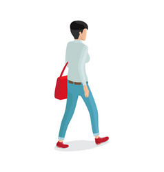 Woman in trousers gray sweater red sack vector