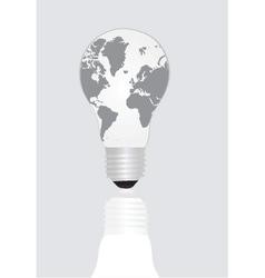 World map inside light bulb vector image