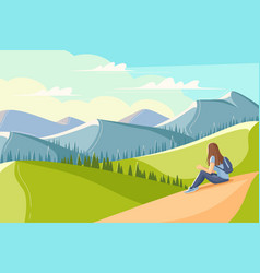 young woman sits on grass and looks at the vector image