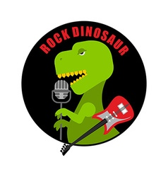 Emblem of rock dinosaur Logo for old fans of rock vector image