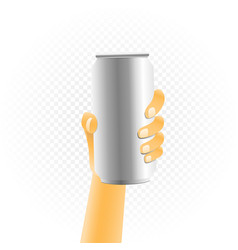 small can drink in hand vector image