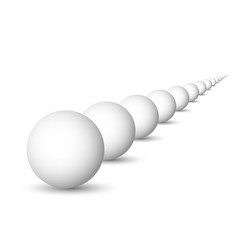 endless row of white spheres balls or orbs 3d vector image vector image