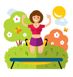 Girl on a trampoline flat style colorful vector