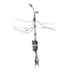 sketch of street lamp vector image