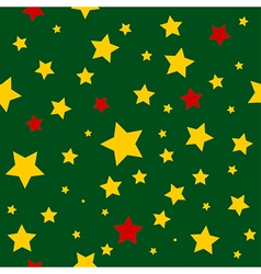 Yellow red stars green background vector