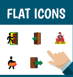 flat icon door set of evacuation emergency vector image vector image
