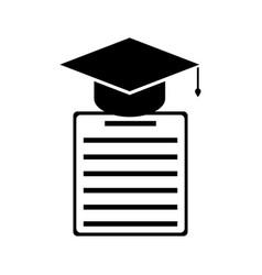 graduation cap and diploma black icon vector image