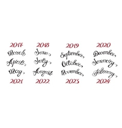 Set hand-drawn lettering months names and namber vector image