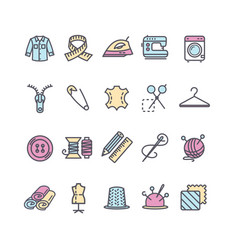 sewing and needlework tool color thin line icon vector image vector image