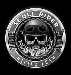 skull rider racing team badge club team vector image