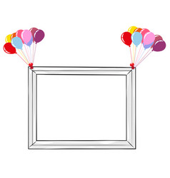 black and white photo frame with colorful balloons vector image vector image