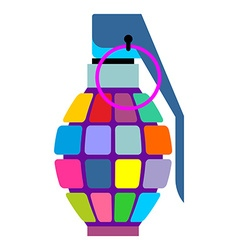 Colorful hand grenade for hippies Color bursting vector image