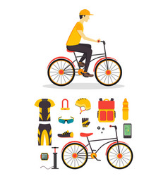 delivery boy and bicycle business service vector image vector image