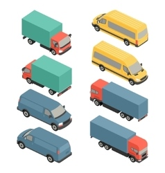 Flat 3d isometric city transport icons Car van vector image