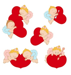 Set cupids with hearts vector image