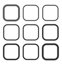 set of square black monochrome rope frame vector image