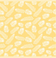 tropical white palm tree leaves seamless pattern vector image vector image