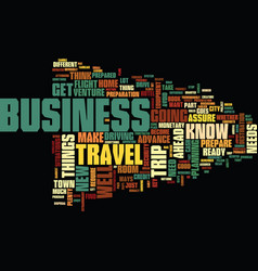Your first business trip text background word vector