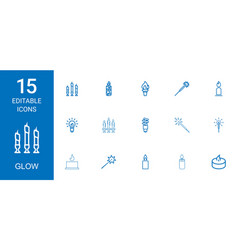15 glow icons vector image