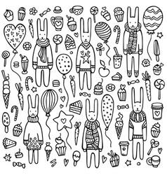 A set cute doodle rabbits vector