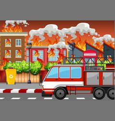 a village on fire vector image