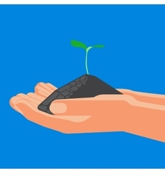 Agricultural concept sprout with soil in the vector image