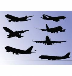 airplane silhouettes vector image