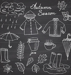 Autumn season set doodles elements Hand drawn set vector image