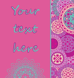 Background with mandalas in pink tones vector image