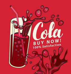 Banner with cola drink glass in retro style vector