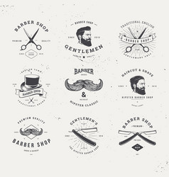 Barber shop logo set vector