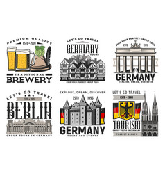 Berlin city tours beer and landmark icons vector