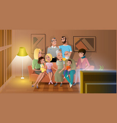 big family spending evening time together vector image