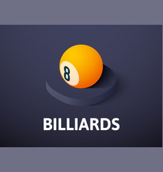 billiards isometric icon isolated on color vector image