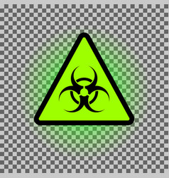biohazard dangeer symbol with green glowing vector image