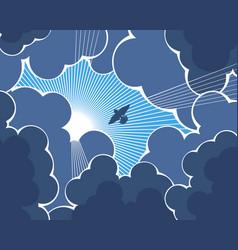 bird flying towards sun vector image