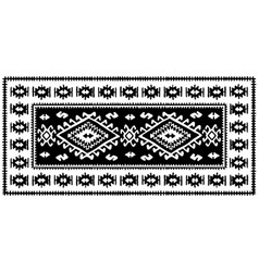 Black oriental mosaic rug with traditional folk vector