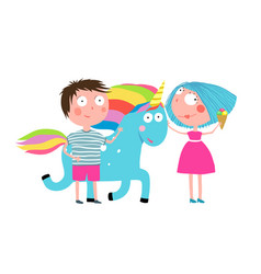 boy girl unicorn and ice cream cartoon vector image