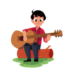 boy playing guitar sitting on a log camping vector image
