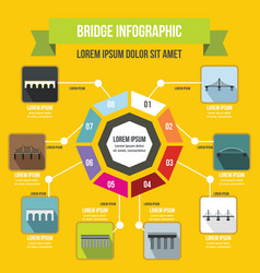 Bridge infographic concept flat style vector