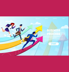business people run to success on growing arrows vector image