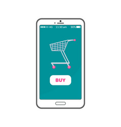 buy button online shopping concept mobile phone vector image