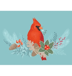 Cardinal on Christmas garland vector image