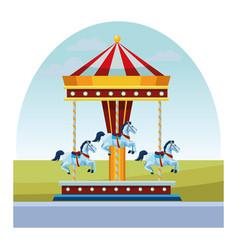 Carousel fun in morning vector