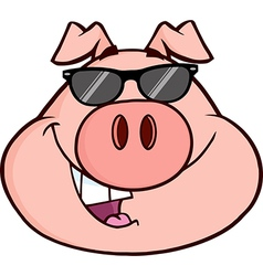 Cartoon pig with glasses vector