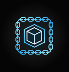 Chain with cube blue line icon blockchain vector