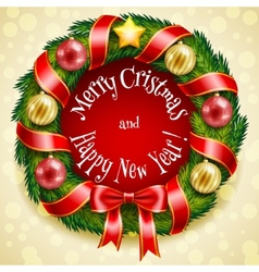 Christmas wreath on a golden background vector image